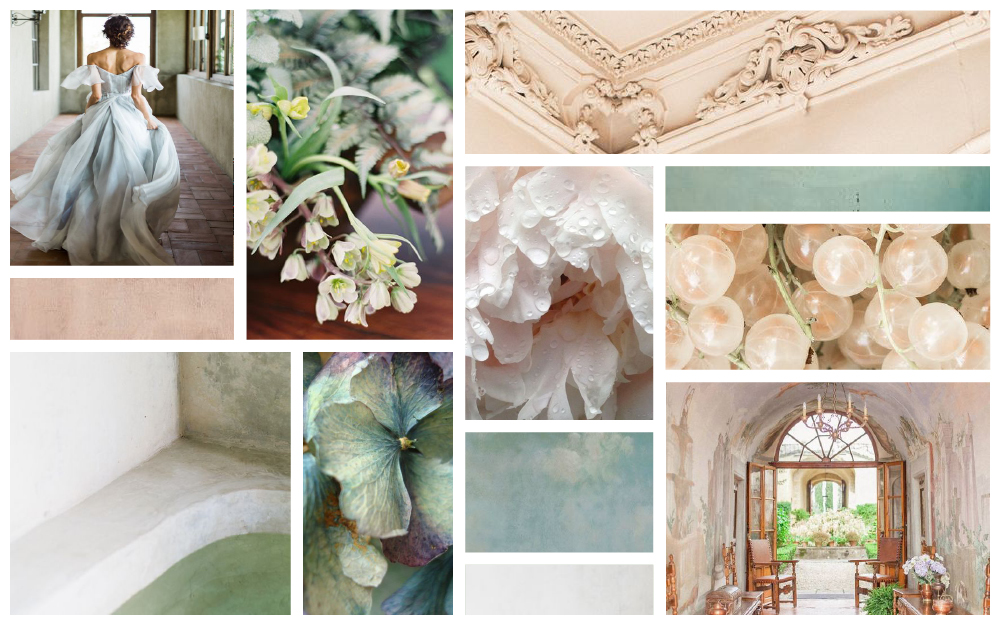 Photo credits (clockwise from top left):  Rustic White Photography ;  Rylee Hitchner Photography ;  Hannah Forsberg ; peony image found via  This Ivy House ;  Marieke Verdenius ;  Jeremy Chou Photography ; hydrangea image found via  Celia Basto ;  M.K. Sadler .
