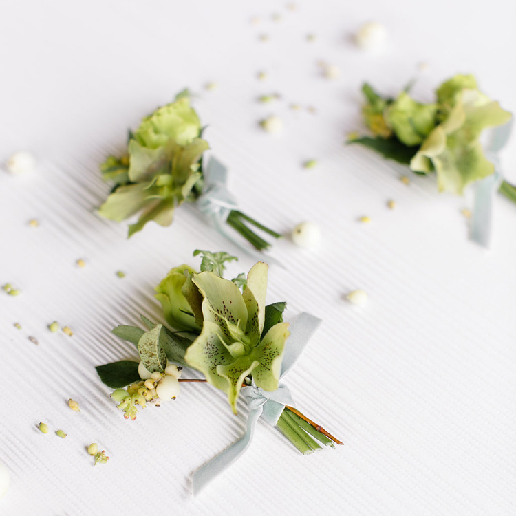 Hellebore Boutonnieres by Sprout Floral Design