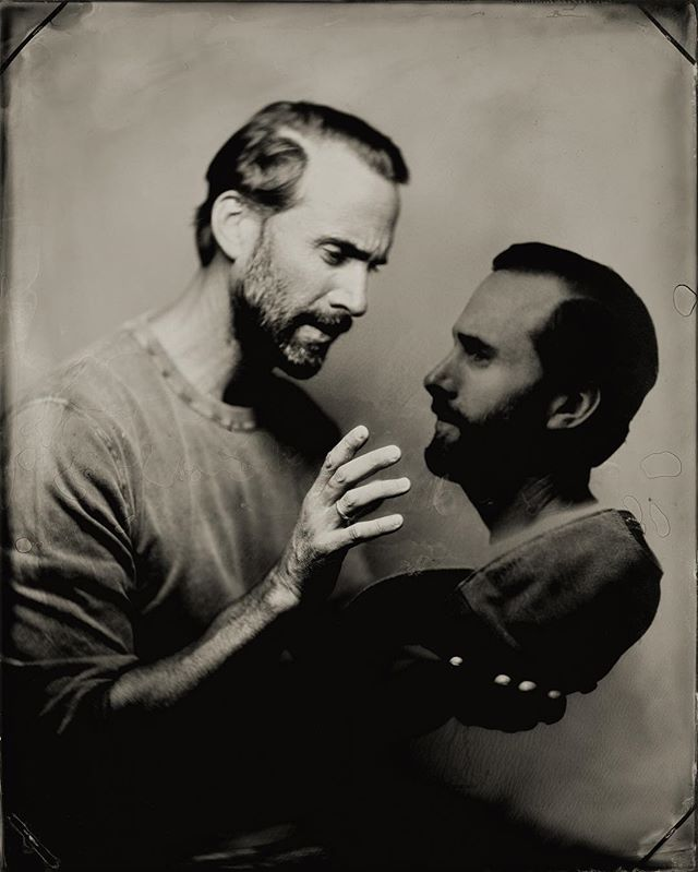 Spirit photograph of actor Joseph Fiennes. Joe was in town on Halloween and stopped by to help out in the @penumbratintypestudio.  #tintype #spiritphotography