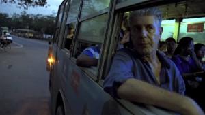 Anthony Bourdain on a public bus in Myanmar