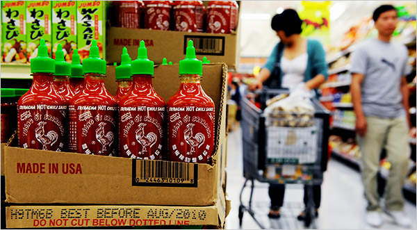 Sriracha found in almost every grocery store.