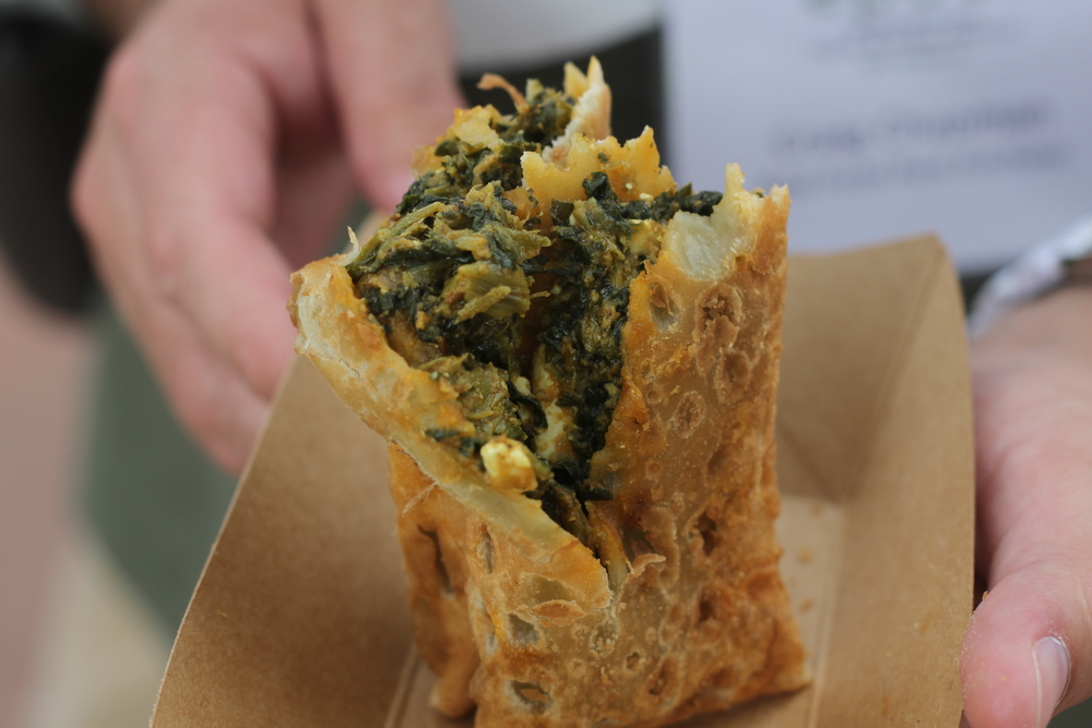 Africa spinach and paneer cheese pocket.