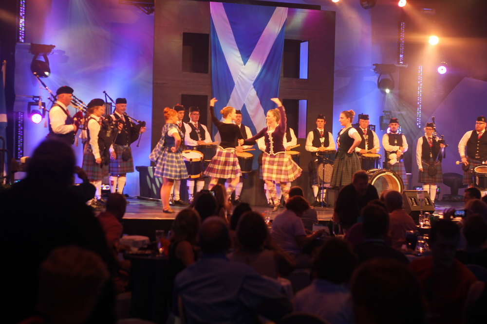 The Scottish Marching band and Highland dancers.
