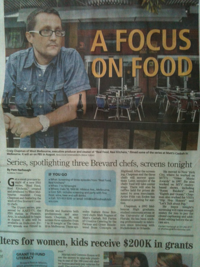 Real Food Real Kitchens first feature in Florida Today.