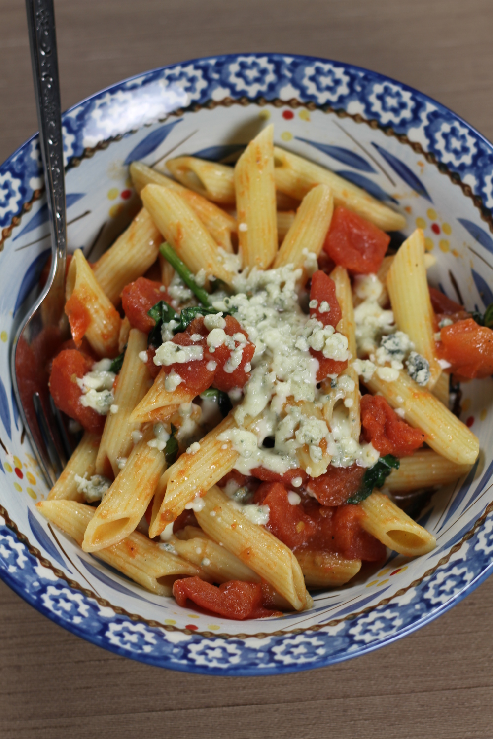 Blue cheese pasta.