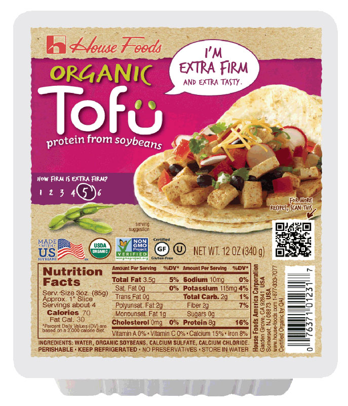 We used House Foods Extra Firm Organic Tofu.