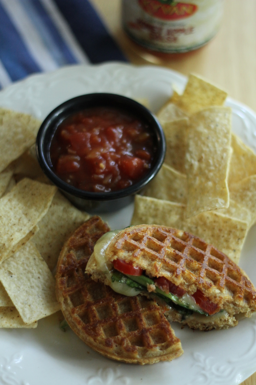 Waffle Grilled Cheese served with KYVAN's Honey Apple Salsa and tortilla chips.