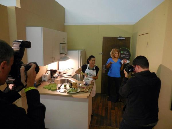 That's Real Food Real Kitchens founder and producer Craig Chapman there on the right shooting with Extended Stay America's 'Away From Home Recipe' contest winner Lauren Wyler