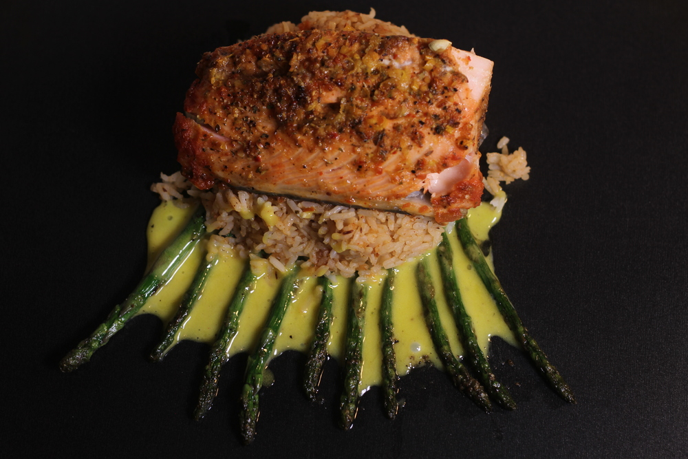 Baked Salmon with Cranberry Chutney Over Rice and Asparagus with Hollandaise Sauce