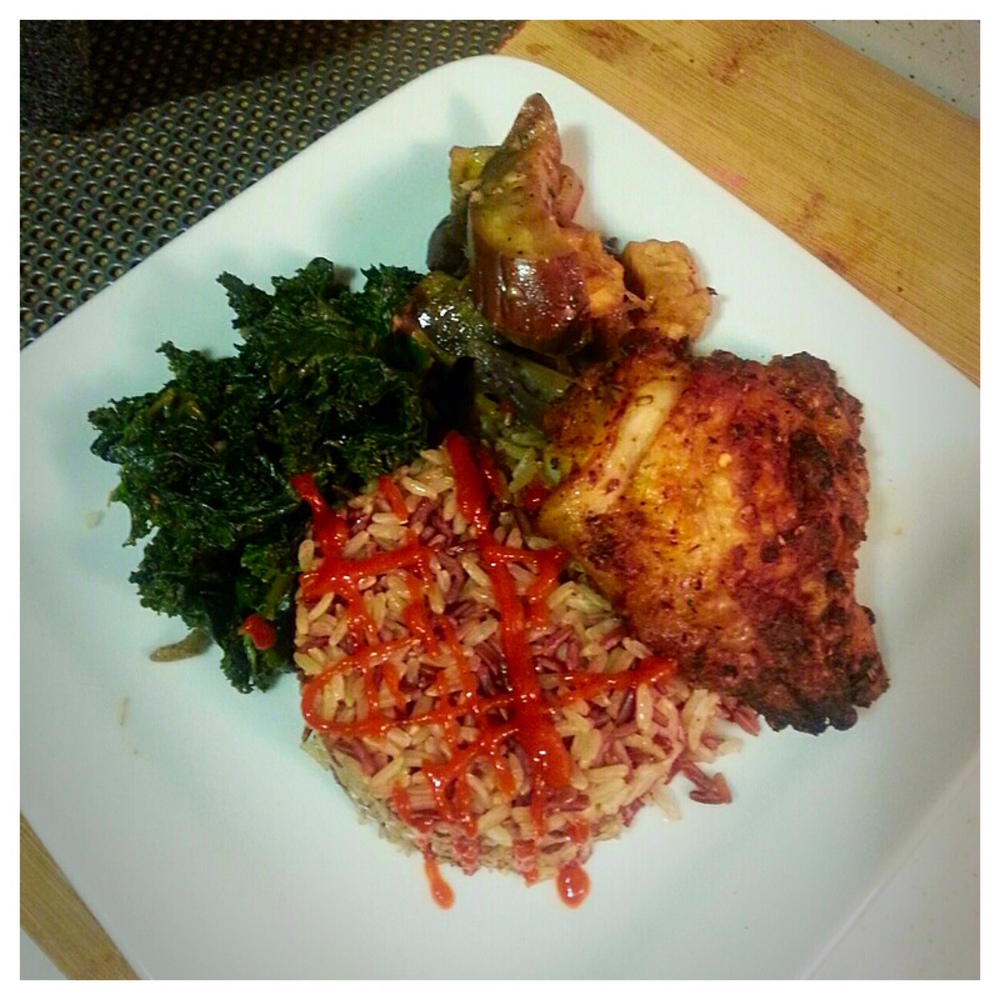 Roasted Chicken with Sautéed Kale and Eggplant Tofu Stir Fry