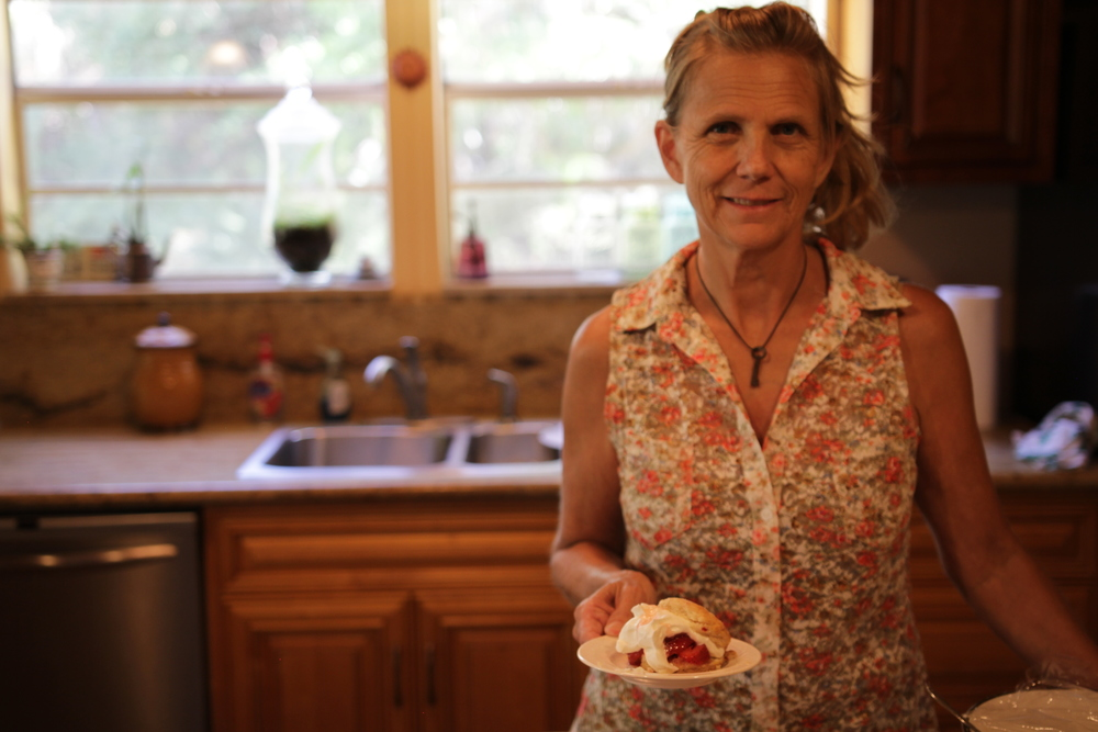 Chris makes her strawberry shortcake recipe.