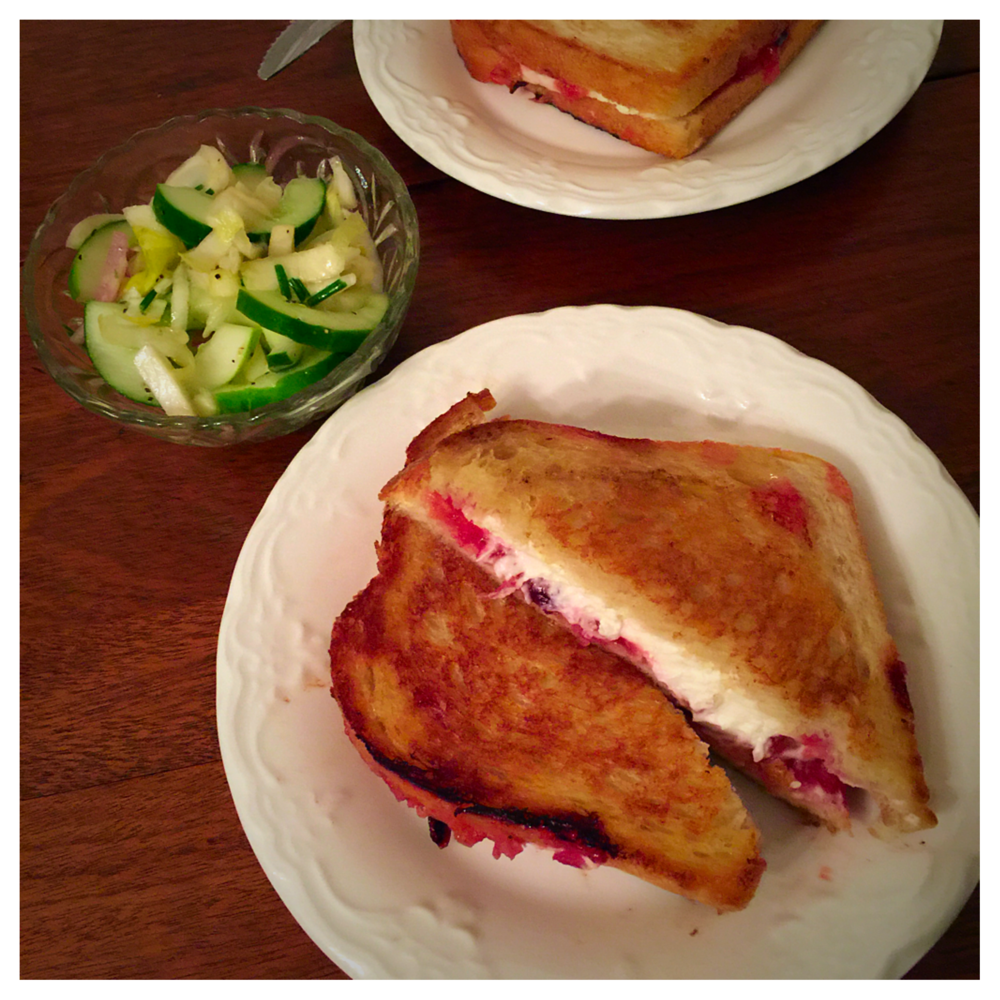 Grilled Goat Cheese & Plum Jam Sandwiches with Ednive & Marinated Cucumber Salad