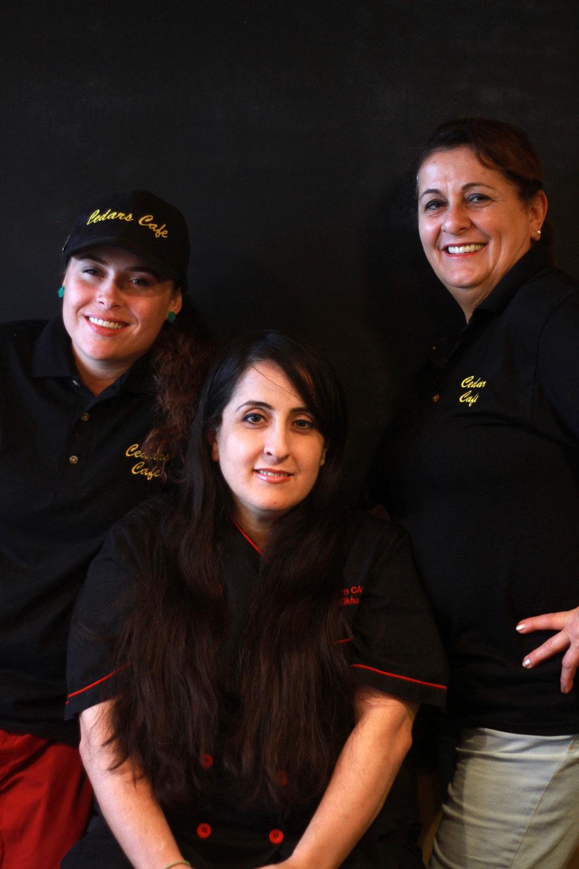 The Cedar's Cafe Crew - Brittney, Toni Elkhouri, and Marlene Elkhouri