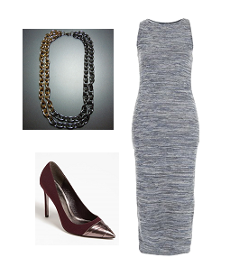 Dress: Topshop  Necklace: House of Zada  Burgundy pumps: Adrienne Papell @ Amazon