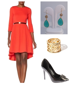 Dress: the Limited Earrings: House of Zada Ring: Charming Charlie Pump: Nine West @ Shoe Buy