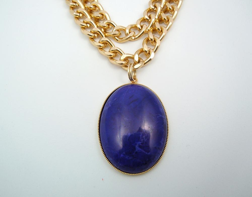 Dye lapis blue howlite pendant