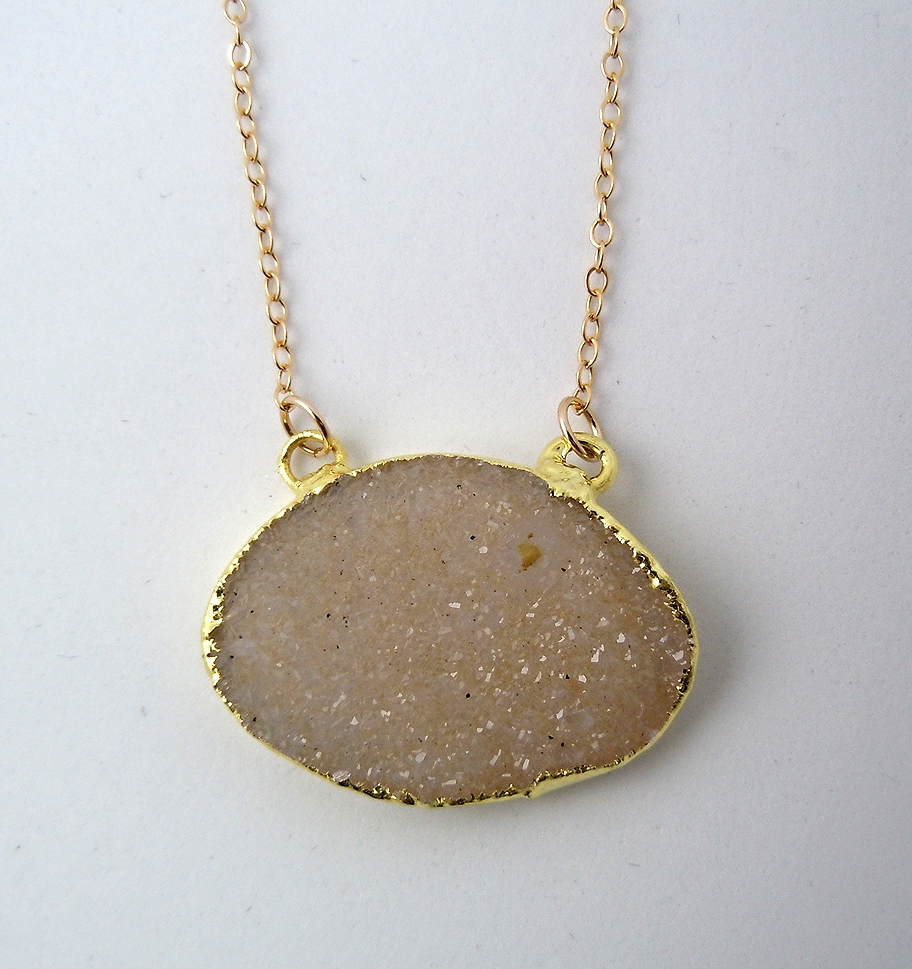 A neutral colored natural druzy handpicked stone to wear everyday, day or night.