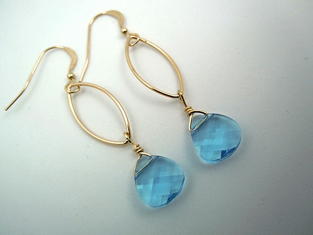 Aqua Swarovski drop earring light enough for all day wear yet bold enough to be noticed.
