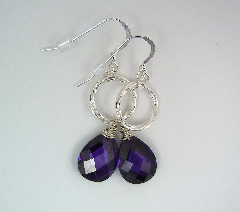 amethyst cubic zirconia sterling silver earrings