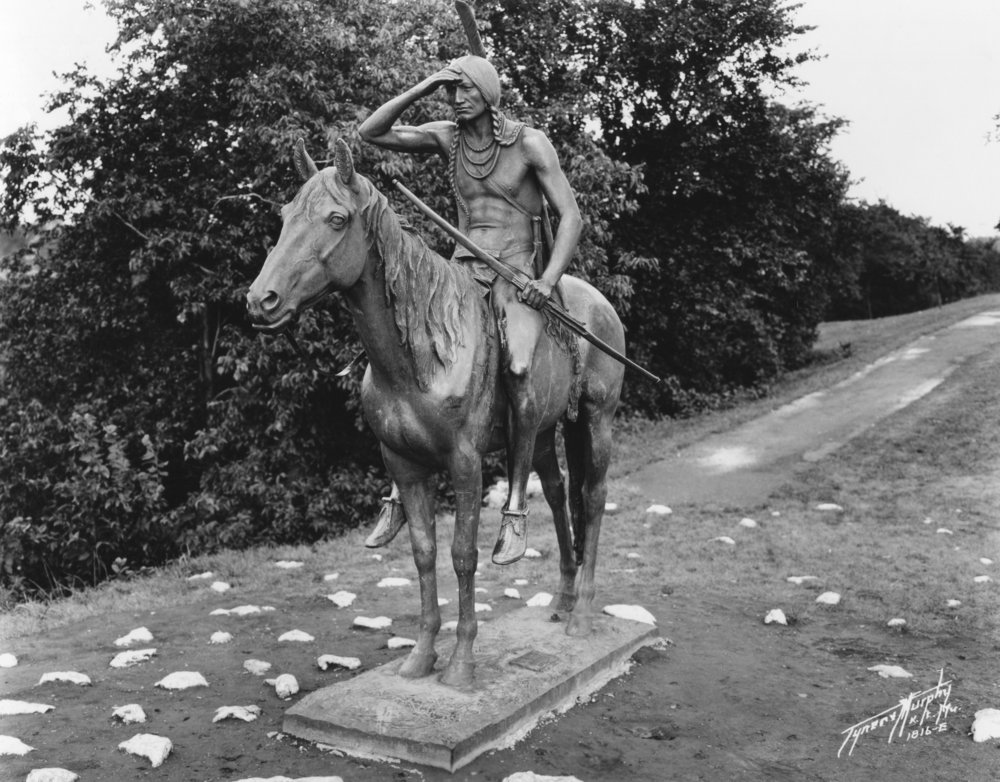Wilborn Collection Scout Statue in Penn Valley Park without pedistal unknown date Tyner & Murphy 1816-E WA75-E.jpg