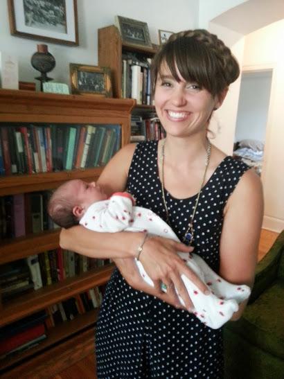 Emily with doula'd baby Nina