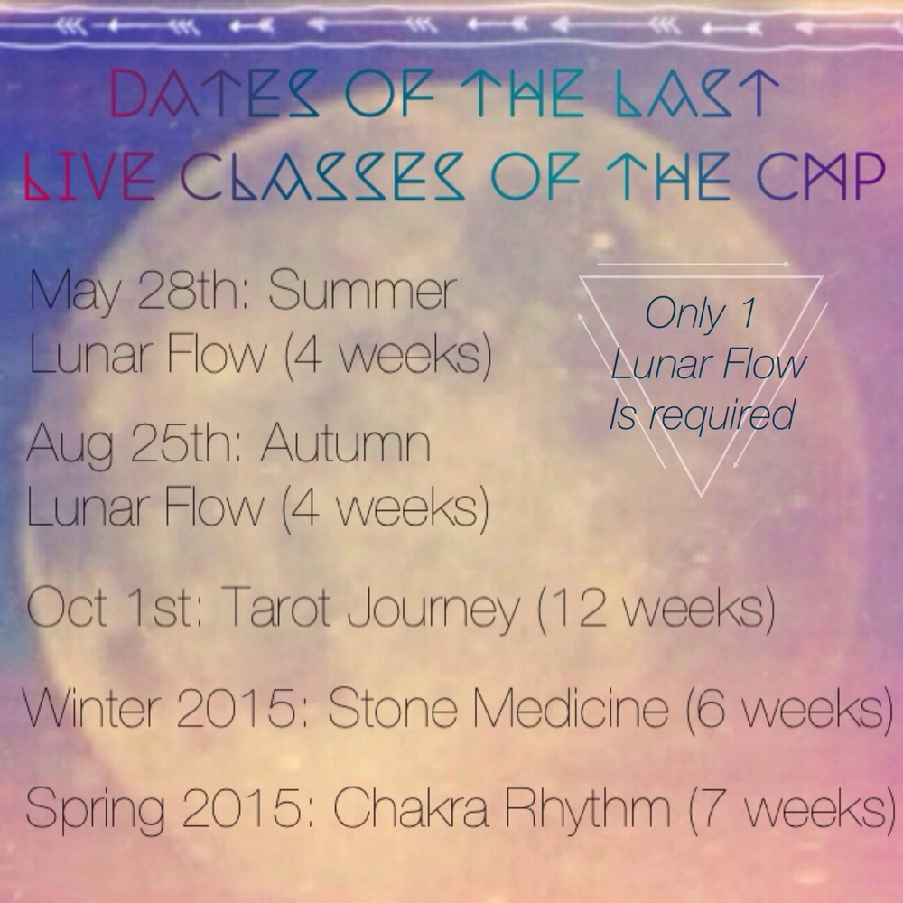 These live classes are online and worked through together in an online community (private Facebook group). I release content in password protected pages throughout the course via email and the group. The group offers so much love, support, and inspiration!