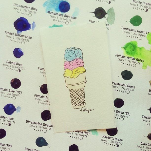 Triple stack. #icecream #illustration #watercolor #art