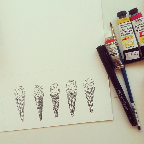 Making ice cream cones. #icecream #watercolor #illustration #art #process (at Studio &)
