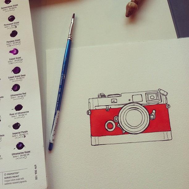 Obsessing over cameras. #leica #art #watercolor #pyrrolorange #camera