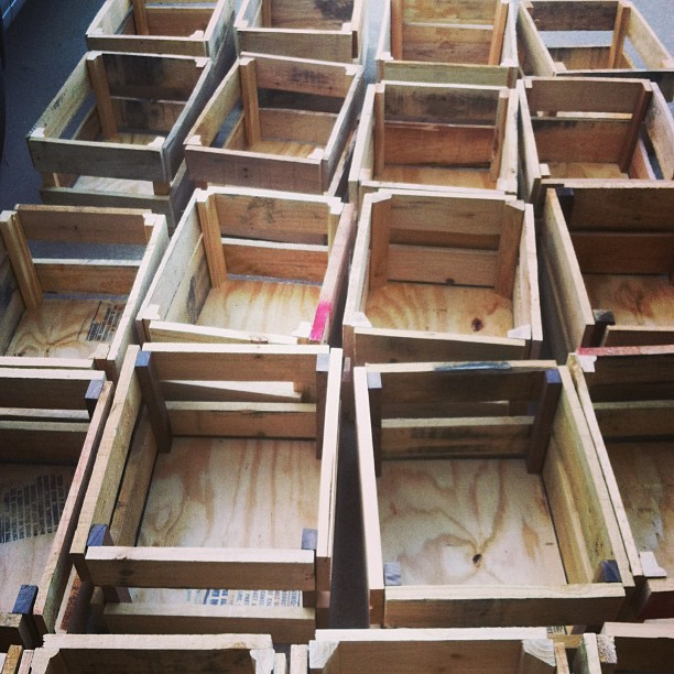 Almost done. 33 handmade crates. Ready for a beer and BBQ. #csartdurango #studioand