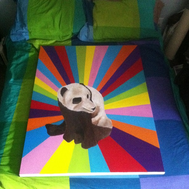Looks like I'll be sleeping on the couch tonight. #paintingstorage #art #panda