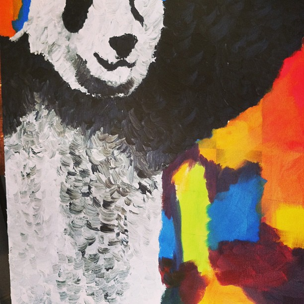 Fucking love applying color… #art #studioand #inthestudio #oil #panda
