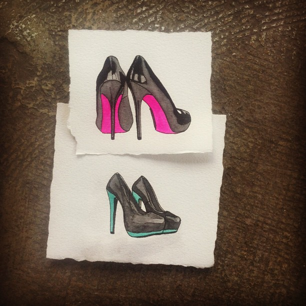 Shoes for the ladies. #stilettos #art #watercolor #sketch