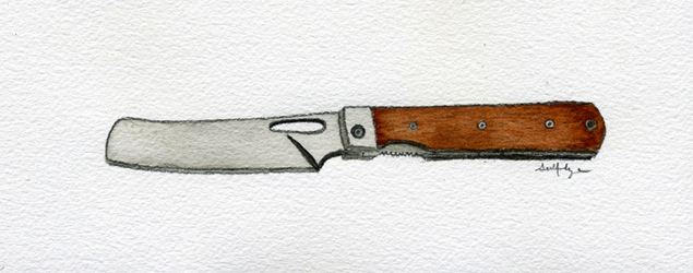 """Close Encounter, or Just Another Missed Opportunity?"" - Watercolor & graphite.  I love painting knives and tools in watercolor - there's something perverse about representing such harsh objects in such a soft medium."