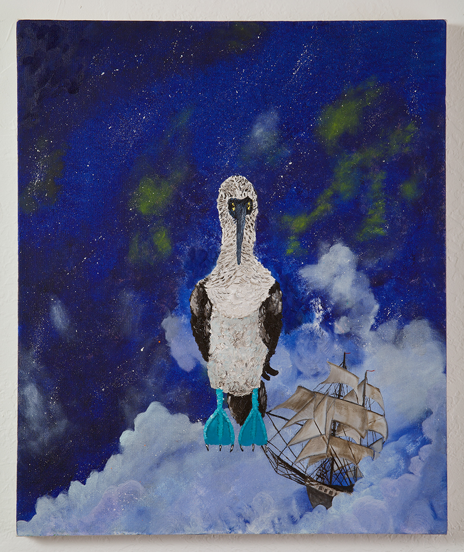 "Here's a full description of the painting I did the the Year show, including a ""selected"" timeline for 1835:  studioand: 1835 1835; in which a young Charles Darwin, aboard the HMS Beagle, lands on the Galapagos Islands and encounters the Blue-Footed Booby for the first time.  That same year, Auguste Comte, a prominent French Philosopher, posits that humans will never be able to understand the chemical composition of stars but is subsequently proven wrong by astronomers embracing the recently developed technologies of spectroscopy and photography.  Scott Dye Oil on Canvas Photo by Scott Griggs Studio —————————— A Brief History of 1835 & Events Therein January 8 – The United States public debt contracts to zero for the only time in history February 1 – Slavery is abolished in Mauritius. ""When slavery was abolished on 1 February 1835, an attempt was made to secure a cheap source of adaptable labor for intensive sugar plantations in Mauritius. Indentured labor began with Chinese, Malay, African and Malagasy laborers, but ultimately, it was India which supplied the much needed laborers to Mauritius. This period of intensive use of Indian labor took place during British rule, with many brutal episodes and a long struggle by the indentured for respect. The term applied to the indentured during this period, and which has since become a derogatory term for Mauritians of Asian descent, was Coolie.""   March 14 - Giovanni Schiaparelli is born. Among Schiaparelli's contributions are his telescopic observations of Mars. In his initial observations, he named the ""seas"" and ""continents"" of Mars. As an observer of objects in the solar system, Schiaparelli worked with binary stars, discovered the asteroid 69 Hesperia on April 26, 1861, and demonstrated that the Perseids and Leonids meteor showers were associated with comets. He proved, for example, that the orbit of the Leonids meteor shower coincided with that of the Comet Tempel-Tuttle. These observations led the astronomer to formulate the hypothesis, subsequently proved to be very exact, that the meteor showers could be the trails of comets. August – H. Fox Talbot exposes the world's first known photographic negatives at Lacock Abbey in England.     Using small ""mousetrap"" cameras, Talbot photographs the inside of his library window at Lacock Abbey, creating the first negative.  He then subsequently printed positive images by contact printing onto another sheet of paper.  August 25 – The New York Sun prints the first of six installments detailing life on the moon which became known as the Great Moon Hoax. The discoveries were attributed to the astronomer, Sir John Herschel, and described animals such as bison, goats, unicorns, bipedal tail-less beavers, and bat-like winged humanoids (Vespertilio-homo, or 'man-bat') living inside a ring of red hills that astronomers dubbed ""Ruby Colosseum,"" and were ""covered, except on the face, with short and glossy copper-colored hair, and had wings composed of a thin membrane, without hair, lying snugly upon their backs"".  The discoveries were eventually exposed as an elaborate hoax of which Herschel had nothing to do with.  Authorship of the article was attributed to Richard A. Locke, a Cambridge educated reporter working for the Sun.  Locke never publicly admitted to being the author and circulation of the New York Sun increased dramatically helping to establish the paper as a successful enterprise.  September 15 – Charles Darwin and the HMS Beagle arrive at the Galapagos Islands.  Darwin encounters the Blue-Footed Booby for the first time. The Blue-footed Booby was first studied extensively by Charles Darwin during his trip to the Galapagos Islands in 1835. There are two recognized subspecies, Sula nebouxii excisa (Todd, 1948) and Sula nebouxii nebouxii (Milne-Edwards, 1882). Its closest relative is the Peruvian Booby. The name Booby comes from the Spanish term bobo (which means 'stupid', 'fool', or 'clown') and the Blue-footed Booby is, like many seabirds, clumsy on land. They were also regarded as foolish for their apparent fearlessness of humans. October 3 – The Staedtler company (pencil manufacturers) is founded by J.S. Staedtler in Nuremberg, Germany. November 16 – Comet Halley reaches perihelion, its closest approach to the sun.     Halley's Comet is the best known of the short-period comets, can be seen every 75-76 years, and is the only short-period comet visible to the naked eye. Streams of vapour observed during the comet's 1835 apparition prompted astronomer Friedrich Wilhelm Bessel to propose that the jet forces of evaporating material could be great enough to significantly alter  a comet's orbit. November 30 - Samuel Langhorne Clemens is born.     ""Keep away from people who try to belittle your ambitions. Small people always do that, but the really great make you feel that you, too, can become great."""