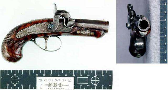 FBI photo of the Henry Deringer pistol (generically known as a derringer) used by Booth in the assassination of Lincoln.