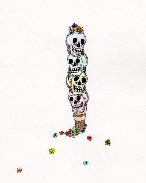 A Bone For Your Cone, 8x10 watercolor and ink