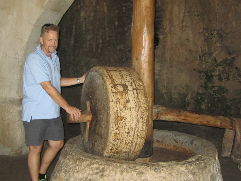 Malcolm Potts tests a first century olive crushing stone