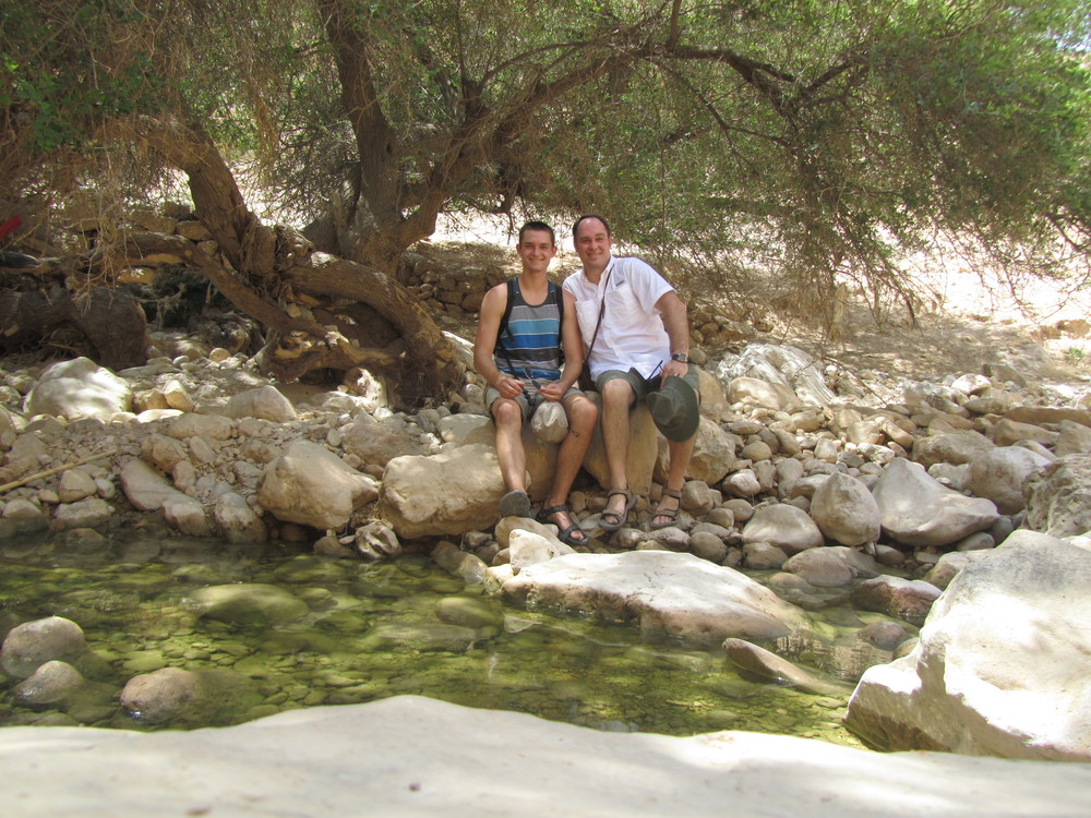 Luke and Bob at the ancient spring in Wadi Kelt