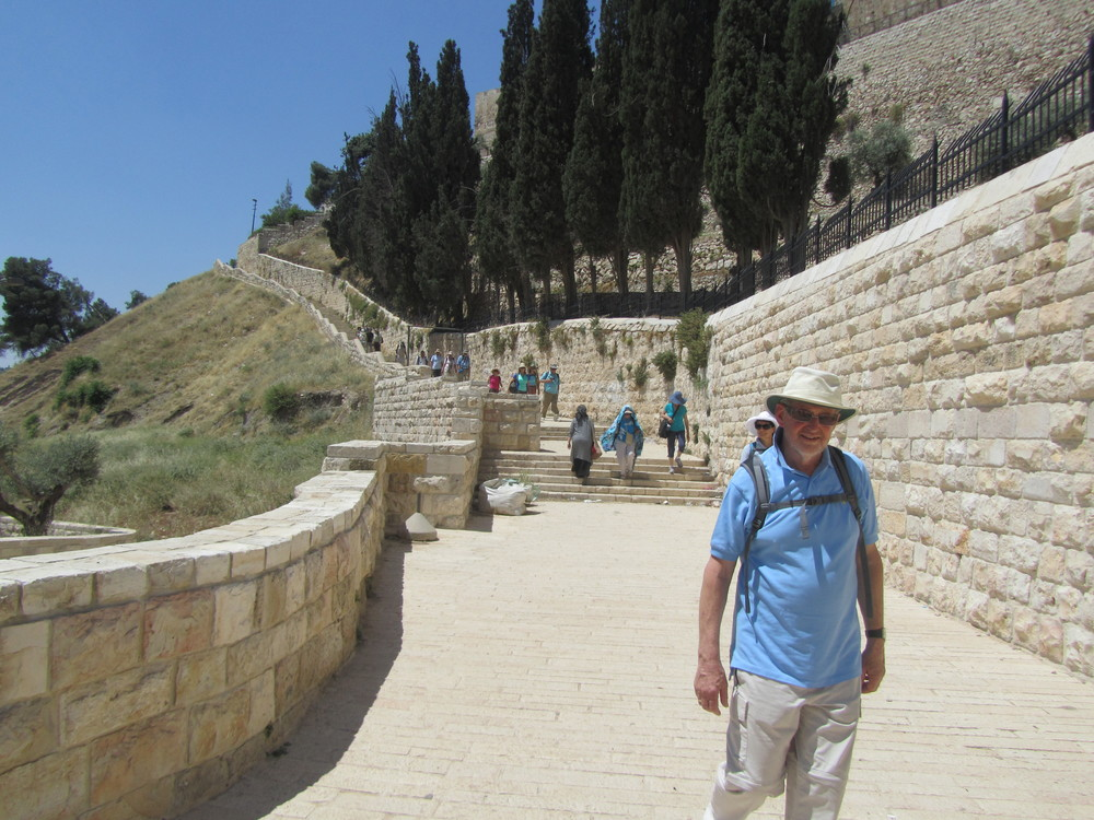 Our group hiking down into the Kidron Valley