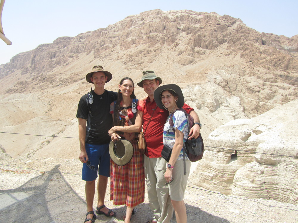 Bob, Pam, Luke and Taylor in front of Cave 6 at Qumran