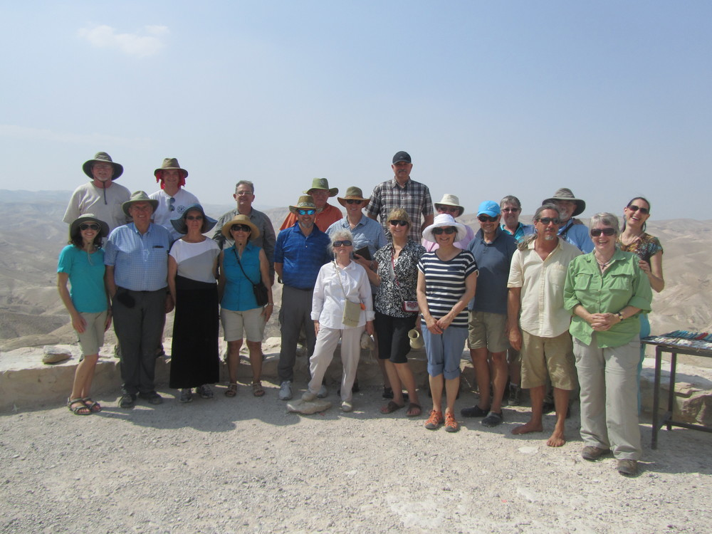 Our group of pilgrims with the Judean Desert in the background