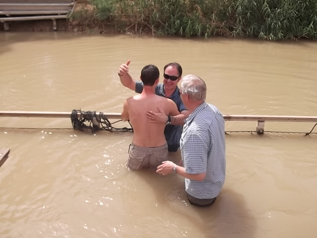Luke Rognlien renews his Baptism in the Jordan River