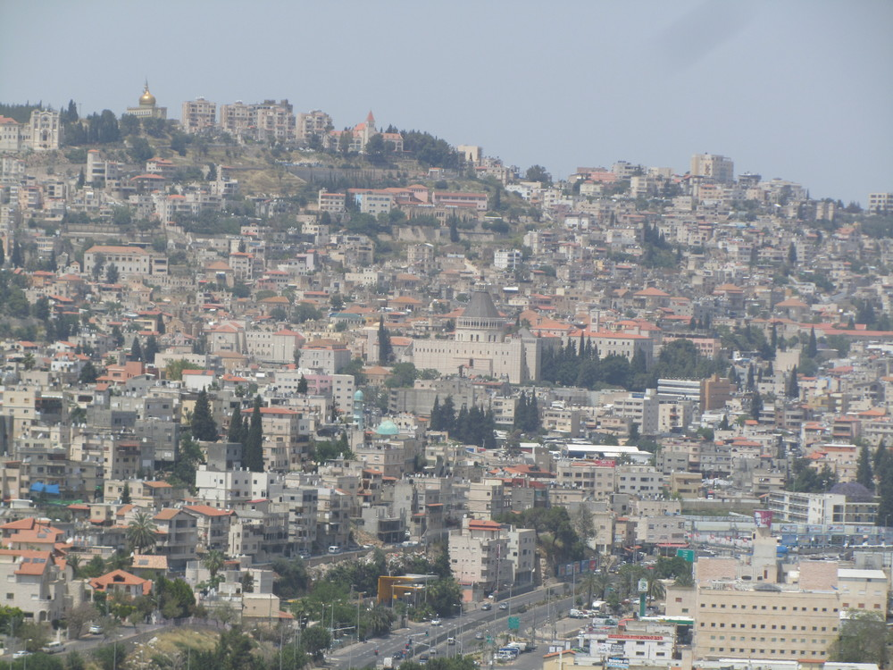 The modern city of Nazareth built over the ruins of the small village where Jesus grew up