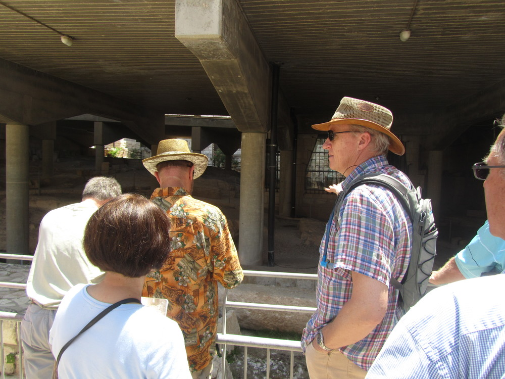 Mike Breen pointing out the archaeological remains of Jesus' boyhood home preserved underneath the Church of the Annunciation