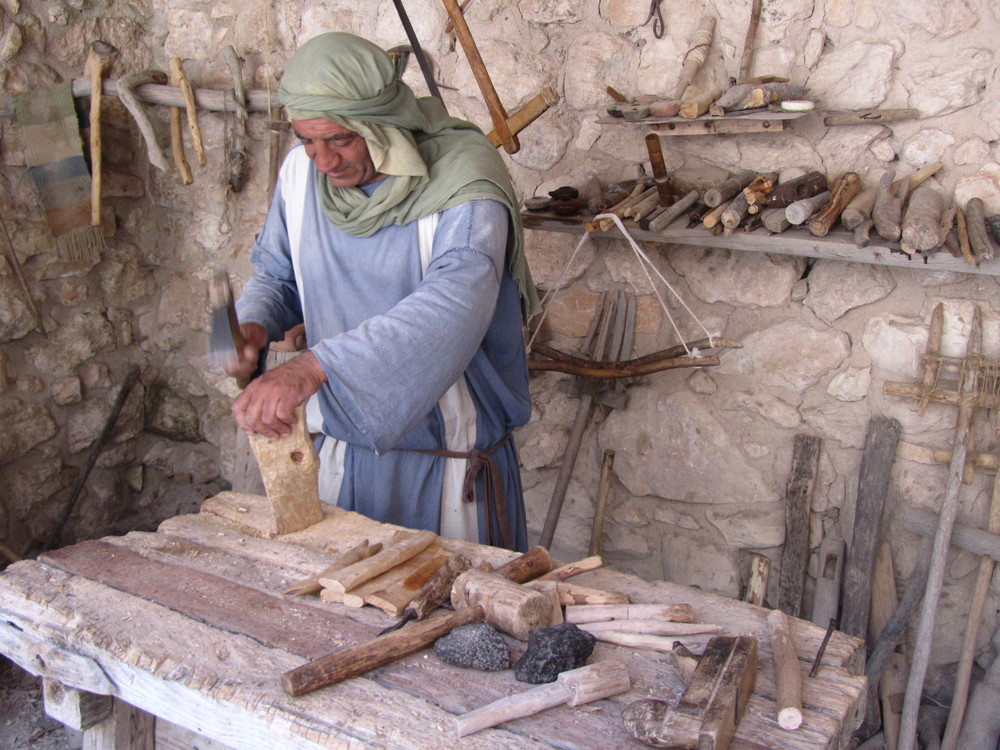 "Watching a ""tekton"" (builder) at work in his workshop at Nazareth Village"