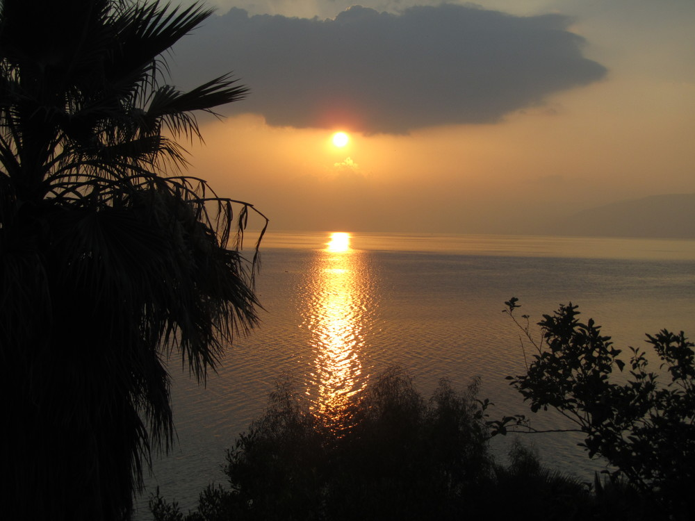 Sunrise on the Sea of Galilee as seen from our window