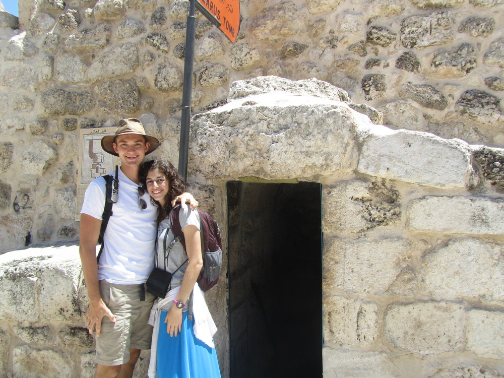 Luke and Taylor outside the traditional site of the tomb of Lazarus in Bethany
