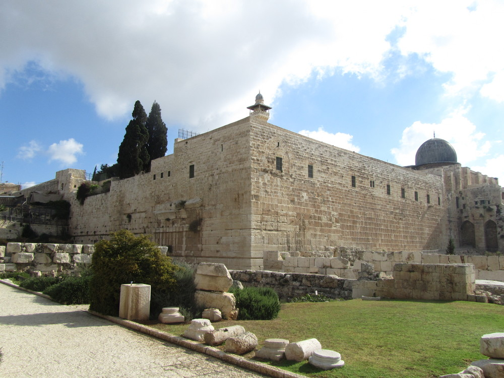 The southwest corner of the Temple Mount and the extensive archaeological excavations surrounding it