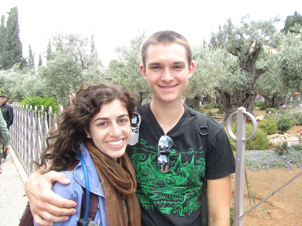 Luke and Taylor in front of the ancient olive trees of Gethsemane